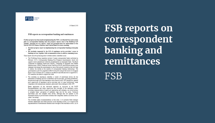 FSB reports on correspondent banking and remittances